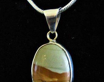 Vintage Sterling Silver Jasper Pendant on New SS Chain