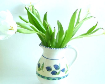 pitcher - vase - ceramic  - french country - white - blue - green - Leaf - Floral - Mediterrrean - Recycled - Water Pitcher -Country Kitchen