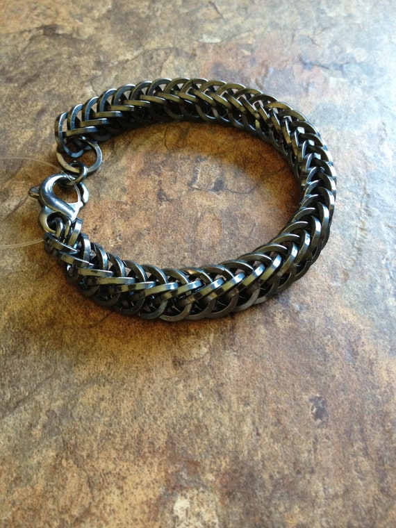 Sterling silver oxidized men's square half persian snake chainmaille bracelet