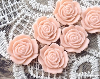 16 mm Flat Back Tan Brown Color Rose Resin Flower Cabochons (.am)(ZZB)