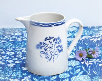 White and blue Ironstone Jug Antique French Jug Water Pitcher Milk Jug ,water pitcher, milk pitcher, blue art deco flower stencil