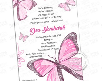 "Customized Printable Butterflies Invitation-Baby Shower Printable Invitation - DIY Printable 5""x7"" or 4""x6""-  YOU PRINT-Digital file"