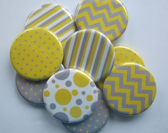set of 10 1.25 inch pinback buttons, flatback buttons or hollowback buttons