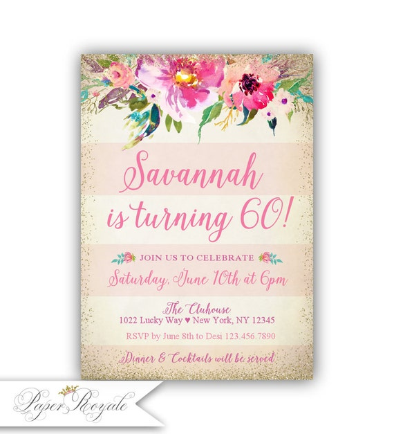 60th Birthday Invitation For Women Floral Vintage Watercolor