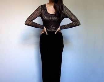 90s Lace Velvet Dress Black Bronze Long Sleeve Floor Length Maxi Holiday Party Dress - Small to Medium S M
