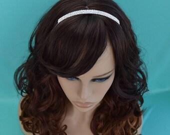 Simple Crystal Bridal Headband, Silver Wedding Tiara, Rhinestone Crown, Crystal Headpiece, Bridal Hair Accessory TI-009