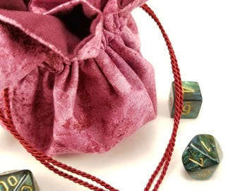 Drawstring Bag, Gift Bag, Dice Bag, Gift Pouch, Dungeons and Dragons, D&D, Maroon, Abstract - Medium Size