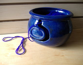 Blue Yarn Bowl knitting & Crocheting bowl yarn bowl gifts for her yarn holder ceramic yarn bowl gifts for her knitting supplies blue