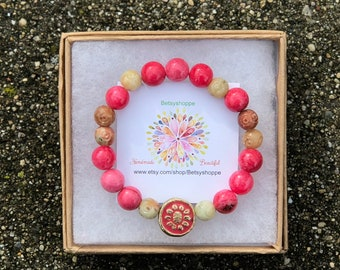 Ambers and pinks, beautiful bracelet, good vibes, natural,neutral, pop of color
