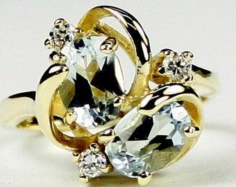 Aquamarine, 14Ky Gold Ring, R016