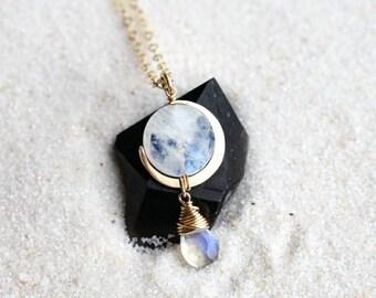 14K Moonstone Eclipse Drop Necklace