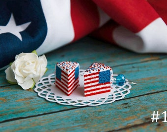 American Flag Cake Earrings, USA Flag Earrings 4th of July Earrings United States Clay Cake Jewelry Patriotic jewelry 4th of July Gift