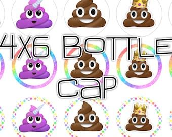 "emojis Poop colors pink purple 4x6 - 1"" circles, bottle cap images, stickers"