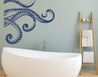 Kraken Octopus Tentacles Vinyl Wall Decal- Octopus Wall Decal Bedroom Bathroom Decor- Octopus Tentacle Vinyl Decal- Sea Ocean Wall Decal #37