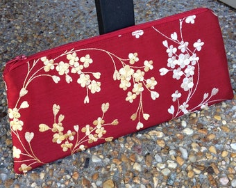 Red Cherry Blossom Embroidered Wristlet