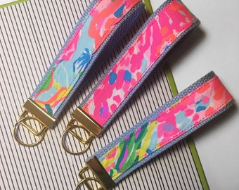 Lilly Pulitzer Inspired Wristlet Keychain Fan Sea Pants / Stocking Stuffer / Teacher Gift / Sorority / Bridesmaid Gift / Key Fob