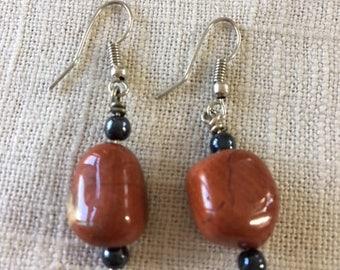 Red jasper earrings.