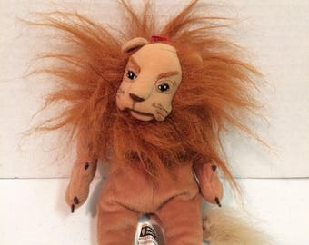 Vintage 1998 Warner Bros Cowardly Lion, Cowardly Lion Doll, The Wizard of Oz Cowardly Lion Doll,