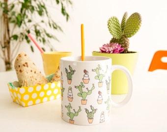 "Design ""Cactus"" (11 oz) ceramic mug. Handmade mug. Coffee Cup. Modern mug. The generous"