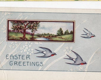 Easter postcard, Easter Greetings Vintage Postcard Swallows, Easter ephemera post card, Whitney Made