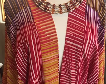 Custom Couture XL Raspberry purple and gold kimono with custom Amber bead collar 1399