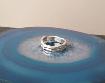Vintage Sterling Silver Waves Band thick Ring, 925, Size 8