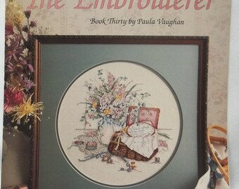The Embroiderer Cross Stitch Vintage 1989 Leaflet, Stitching Supplies Design Paula Vaughan