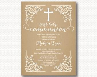 Vintage Communion Invitation, First Communion, Invitation, Kraft, Cross, Boys 1st Communion, Girls Communion, Digital, Printable,