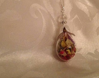 Glass teardrop necklace, Floral Glass Necklace, Terrarium Necklace
