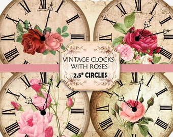 Vintage Clock - Clock Faces with Roses 2.5 Inch Circles (383) digital collage sheet