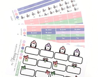 Winter Penguins Kit Add ons, Planner Stickers