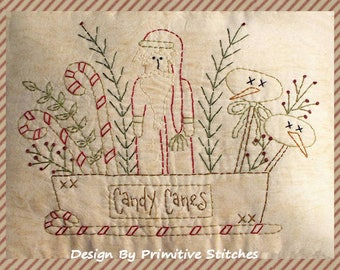 Christmas Cheese Box Santa-Primitive Stitchery  E-PATTERN by Primitive Stitches-Instant Download