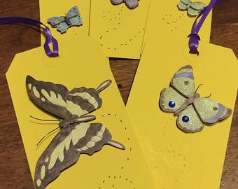 DreamscapesByCyn--Lot of 5 Colorful Butterfly Handmade Tags