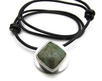 Chrysocolla Pendant - Modern Silver Necklace - Green Stone Pendant - Everyday Necklace - Gifts for Him - Mod Necklace - Leather Necklace