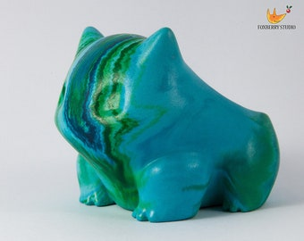 Teal Blue and Leaf Green Marbled Stone Look Bulbasaur Pokémon Planter / Succulent Planter / Jewelry Holder Unique Gift