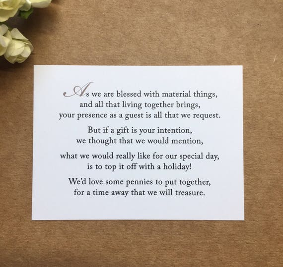 Wedding Invitation Poem For Money Honeymoon Poem Card Gift