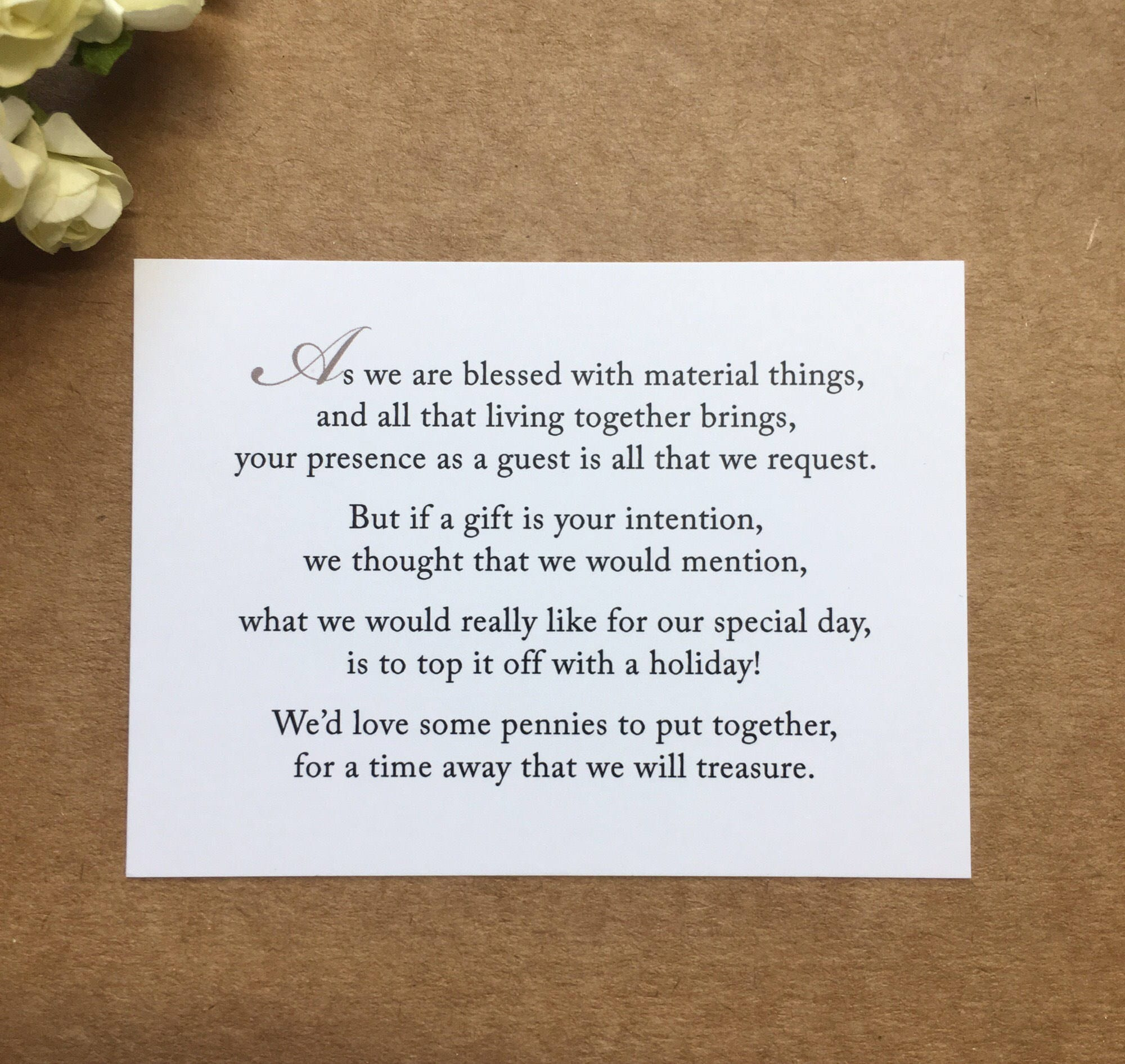Wedding invitation poem for money honeymoon poem card gift zoom kristyandbryce Images
