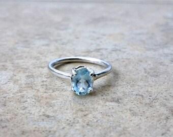 Aquamarine Ring, Genuine Aquamarine Oval shaped 8 mm x 6 mm, March Birthstone, Modern-day stone for Brides