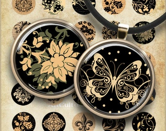 1 inch (25mm) size Circle Images BLACK AND GOLD Digital Collage Sheet Printable download for pendants magnets bottle caps bezel trays