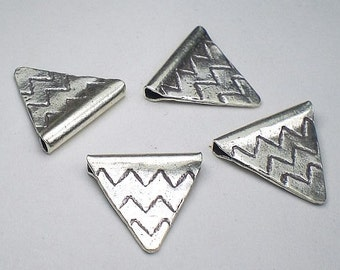 Tribal 15mm Triangular Beads Hill Tribe Fine Silver 3 pcs. HT-179