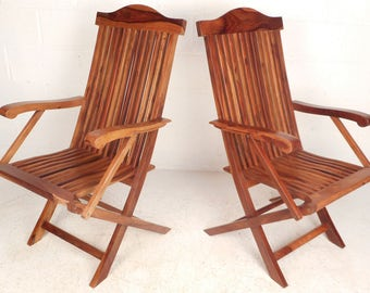 Pair of Contemporary Modern Teak Folding Chairs (5997)NJ