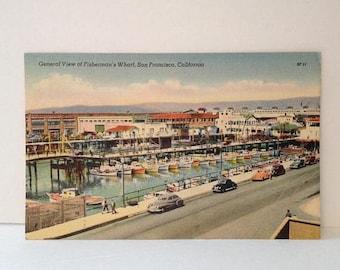ON SALE San Francisco California CA Old Vintage 1940's Linen Souvenir Postcard