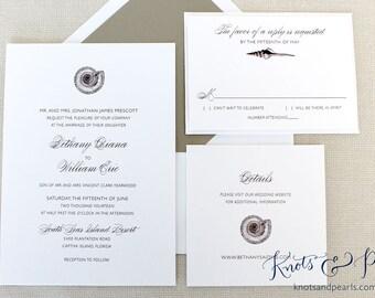 Sundial Seashell Wedding Invitation, Beach Shell Wedding Invitations, Florida Wedding Invitations, Sanibel Island Wedding Invitations