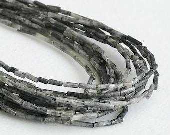 Grey Raw Diamond Needle Beads, Pipe Shaped, Natural Rough Diamond Sticks, Raw Diamond, Raw Uncut Diamond, 8 Inch, 1x3mm -1x8mm