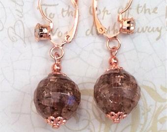 Rose Gold Crystal Earrings - Christmas Jewelry - Crystal Earrings - Holiday Earrings - Winter Earrings, Dangle Earrings, Rhinestone Earrings