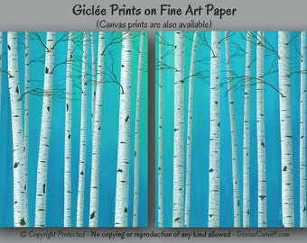 Birch tree painting - Wall art print set, Teal blue green aqua, Artwork, Turquoise gray, Home decor, Master bedroom, Office, Aspen Landscape