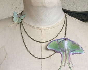 Two Moons - Handmade Necklace with Double Chain and Cotton and Silk Organza Luna Moth Butterflies - One of a Kind