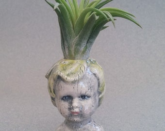 Baby Doll Head Air Plant Vase, ceramic vase for small buds or air plants