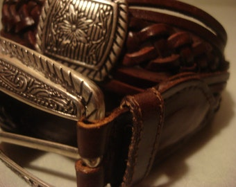 Vintage 1990s Boho Southwestern Brown Leather Concho Ornate Silver Square Buckle Belt