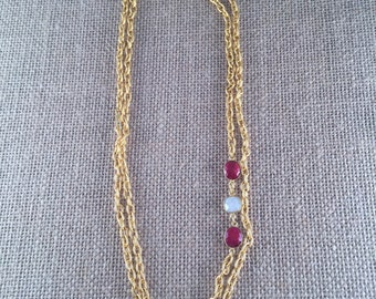 "Ruby & Baroque Freashwater Pearl Gemstone Link Chain Necklace - 22K gold plated - 42"" long - Double Wrap - Long - GRANADA I"